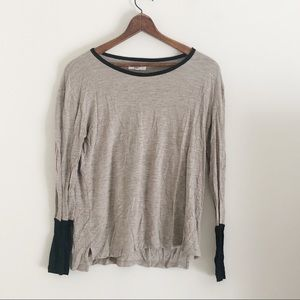 Madewell Tan and Black Color Block Long Sleeve Top